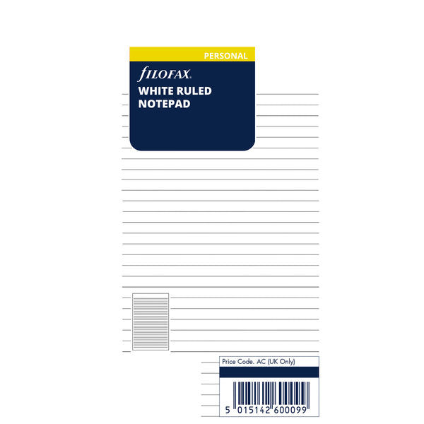 PERSONAL VULLING - WHITE RULED NOTEPAD