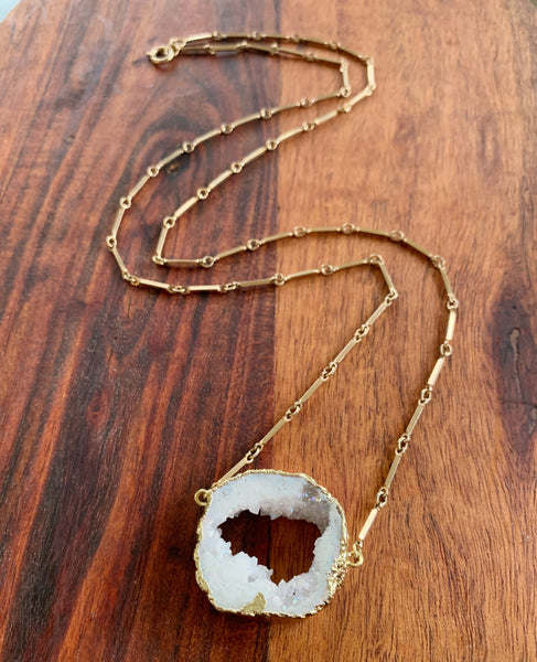 The Crystal Statement Necklace in Quartz and Vintage Chain
