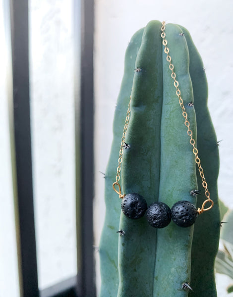 Into the Volcano 14k Gold Filled Obsidian Lava Stone Necklace