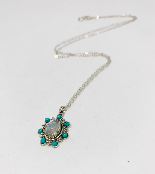 In Bloom Sterling Silver Necklace in Moonstone and Turquoise
