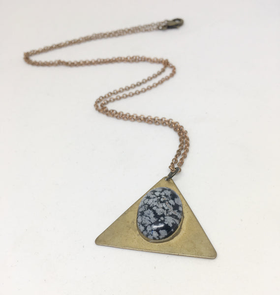 180 Degrees Necklace in Snowflake Obsidian