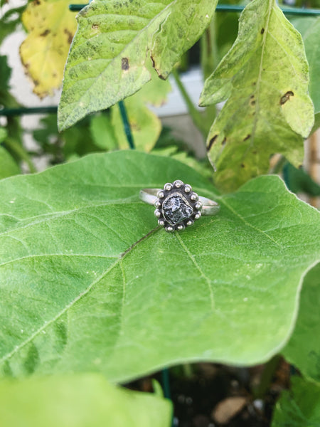 UFO Genuine Meteorite Sterling Silver Ring - Size 8.5