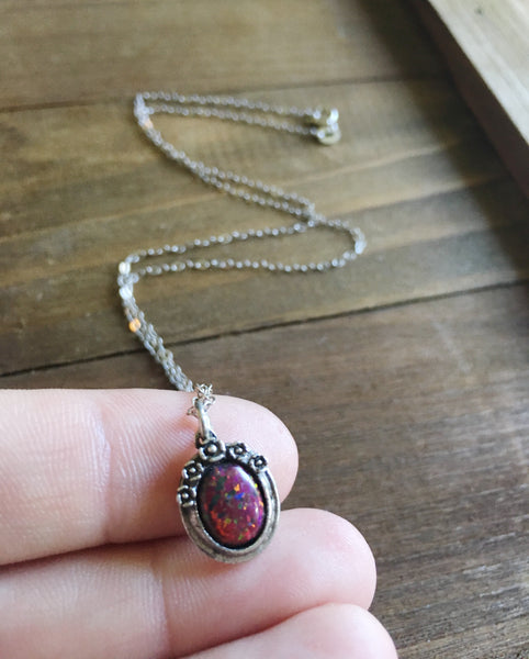 Only Opals Sterling Silver Necklace