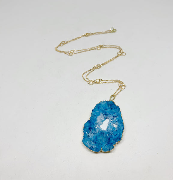 Gorgeous Geodes Necklace in Light Blue