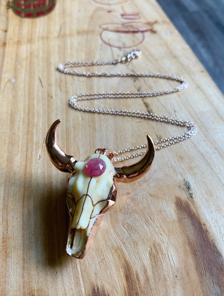 Steer Your Heart Necklace in Pink Sapphire and Rose Gold