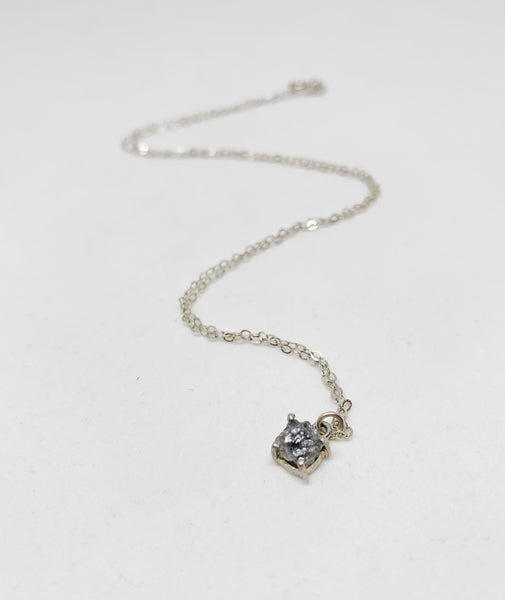 In the Rough Genuine Raw Diamond Sterling Silver Necklace