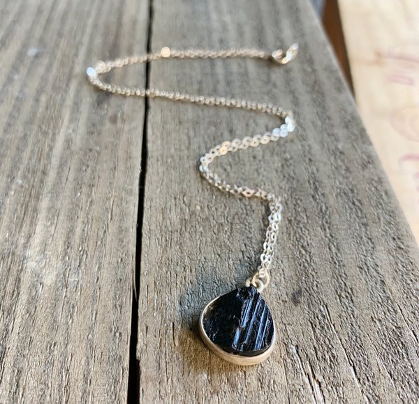 Timeless Tourmaline Sterling Silver Necklace in Black Tourmaline
