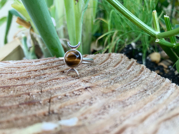 Triple Moon Tiger's Eye Sterling Silver Ring - Size 8