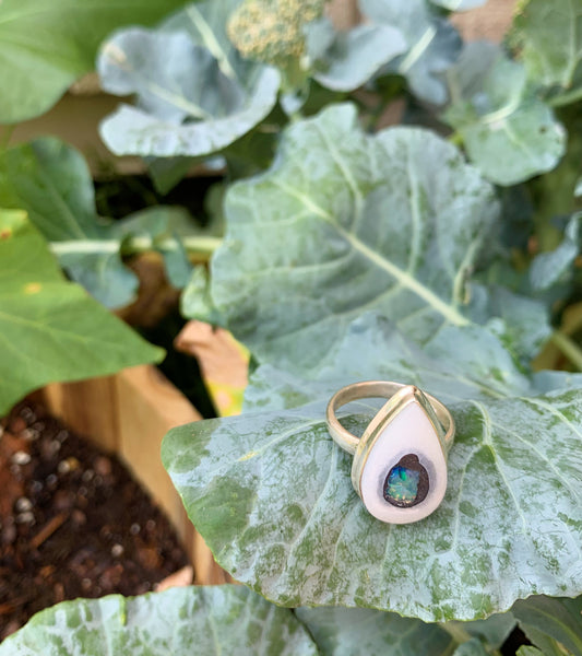 Raw Opal Sterling Silver Ring - Size 9