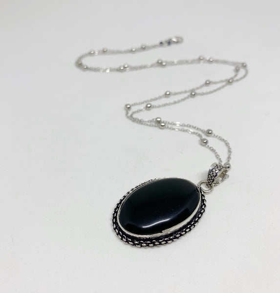 Witching Hour Necklace in Black Agate