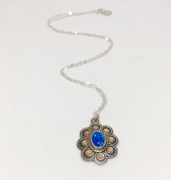 Blooming Opals Sterling Silver Necklace