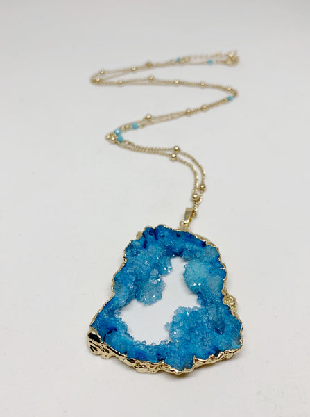 Gorgeous Geodes Necklace in Blue