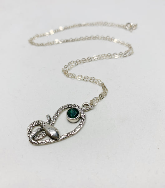Serpent's Siren Sterling Silver Necklace in Emerald