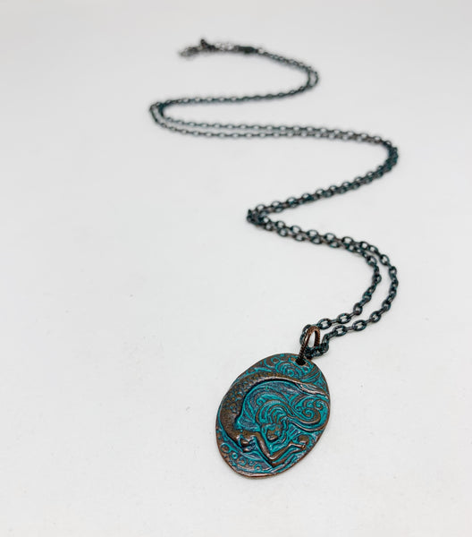 Ocean's Call Patina Mermaid Necklace