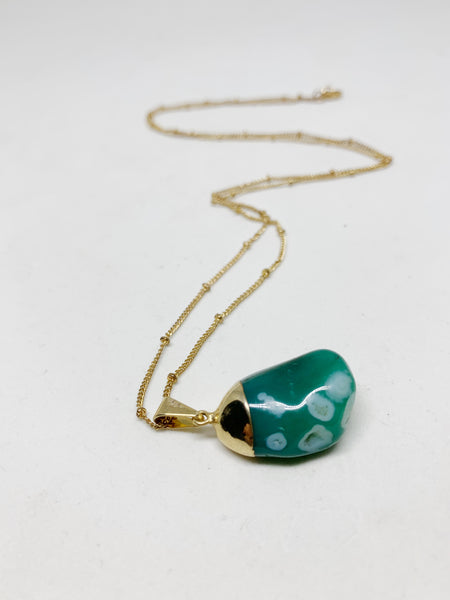 Crystal Collector Necklace in Green Spotted Agate