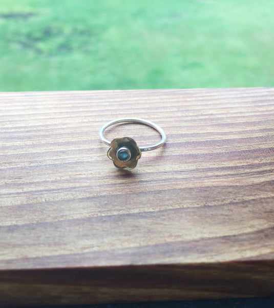 Stacked Sterling Silver Ring in Labradorite - Size 7.75