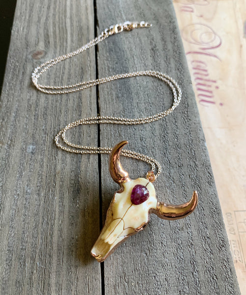 Steer Your Heart Necklace in Star Sapphire and Rose Gold