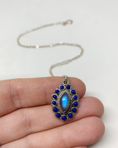 Modern Royals Sterling Silver Necklace in Labradorite and Lapis Lazuli