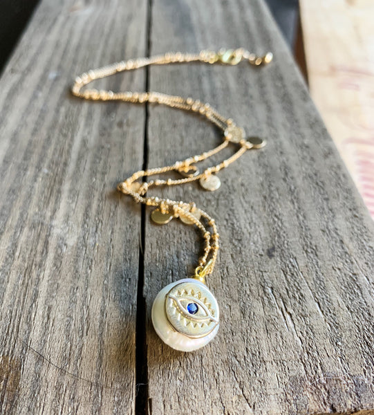 Freshwater Pearl and Evil Eye Necklace