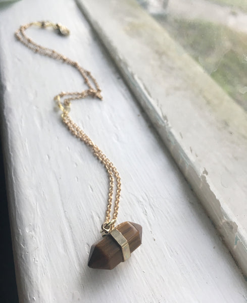 Double Terminated Necklace in Tiger's Eye