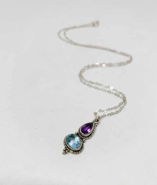 Aquamarine and Amethyst Sterling Silver Necklace