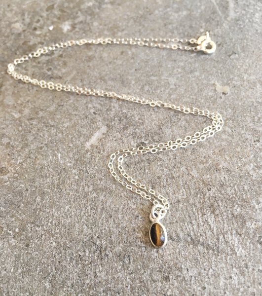 Tiny Tiger's Eye Sterling Silver Necklace