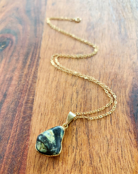 You're a Gem 14k Gold Filled Necklace in Green Zebra Jasper