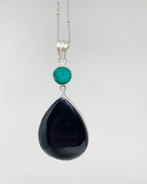 Witching Hour Necklace in Black Agate and Emerald
