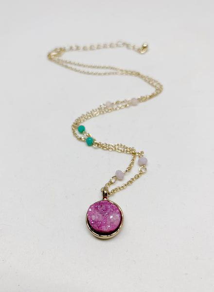 Amazing Aura Necklace in Pink Aura Quartz