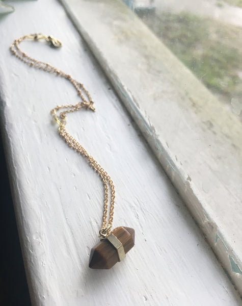 Double Terminated Necklace in Tiger's Eye and Labradorite