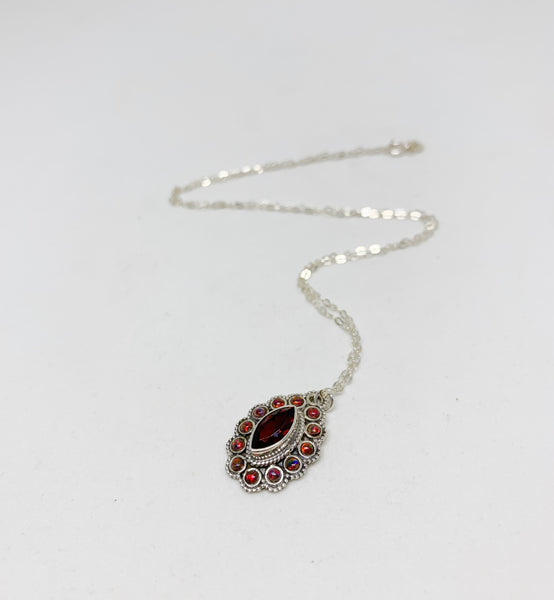Modern Royals Sterling Silver Necklace in Garnet and Fire Opal