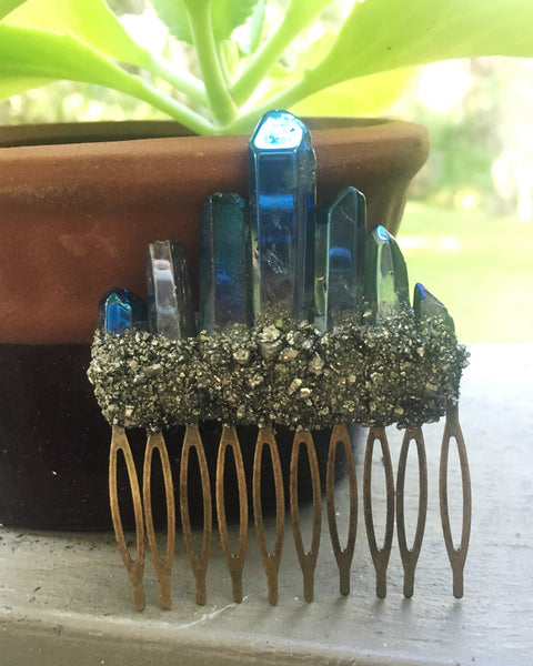 Goddess Hair Comb in Blue