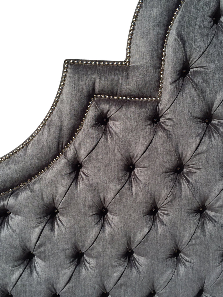 king size upholstered headboard with nails gray velvet extra tall  -  king size upholstered headboard with nails gray velvet extra tall kingsize tufted headboard gray