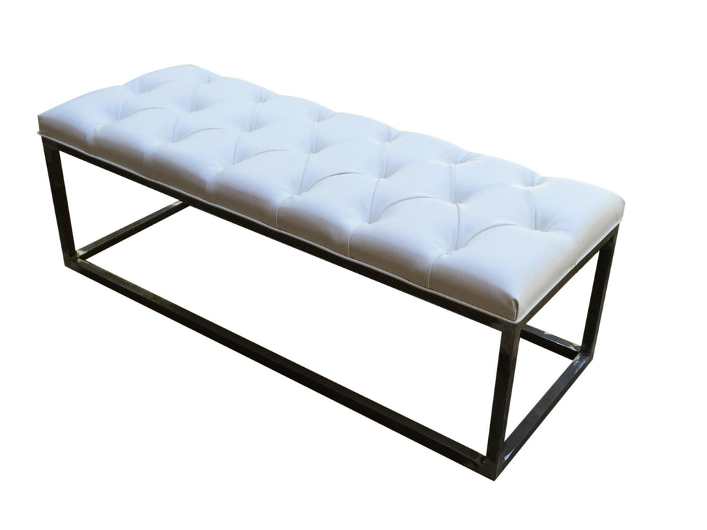 Bench White Tufted Bench Upholstered Bench Living Room Bench ...