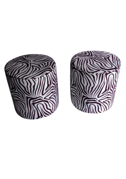 Awesome REDUCED Pair Of White And Purple Zebra Pattern Ottomans Upholstered Stools  Zebra Fabric