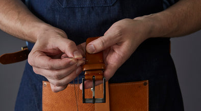 Trafalgar Leather Belt being Hand Sewn by Artisan