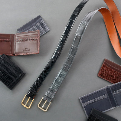 Accessories crafted from genuine exotic leathers