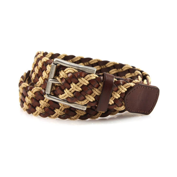 Somerset Leather & Cotton Woven Big and Tall Belt