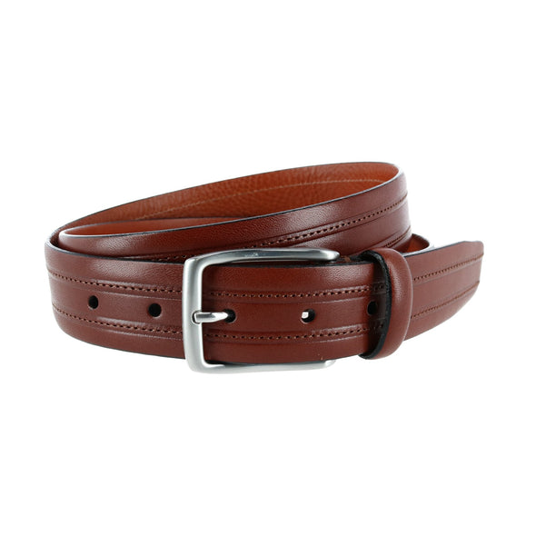 Allister Embossed Leather with Stitching Italian Dress Belt