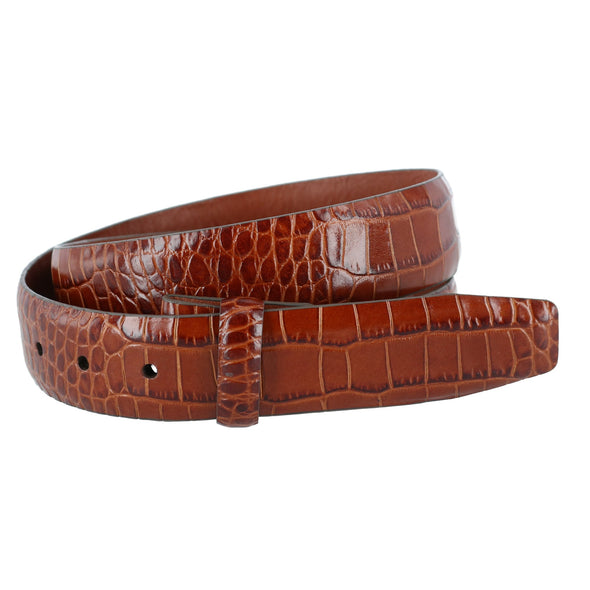 Leather Mock Croc Print Belt Strap