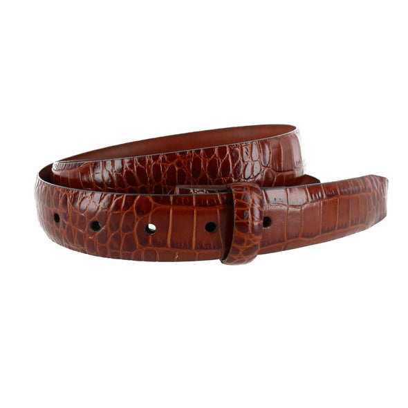 30mm Crocodile Embossed Leather Harness Belt Strap