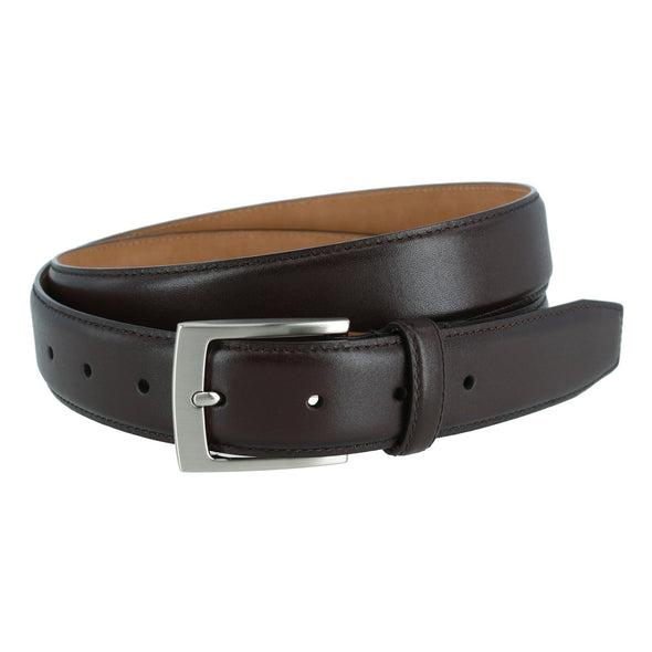 Stitched Feathered Edge Leather Belt
