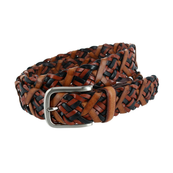 35mm Tomas Laced Leather Braid Belt