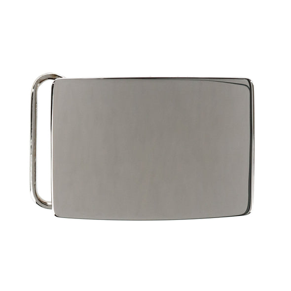 30mm Rhodium Over Solid Sterling Silver Belt Buckle