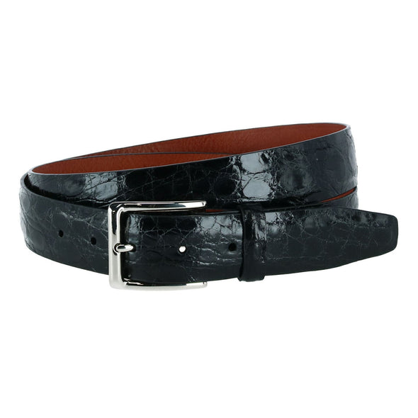 Big & Tall Newington Crocodile Leather Belt (2 Buckles)