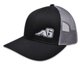Low Pro Trucker Snap-Back Hat - Black/Grey with A6™ Embroidered Logo