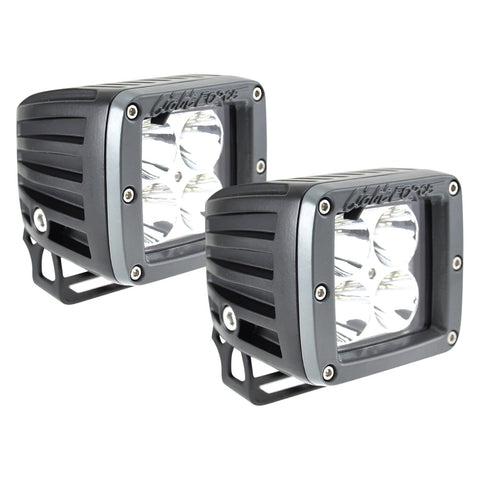 Lightforce - 2 Inch Utility LED Light Dual Row 10 Watt Chips Spot Beam Pair W/Harness ROK40