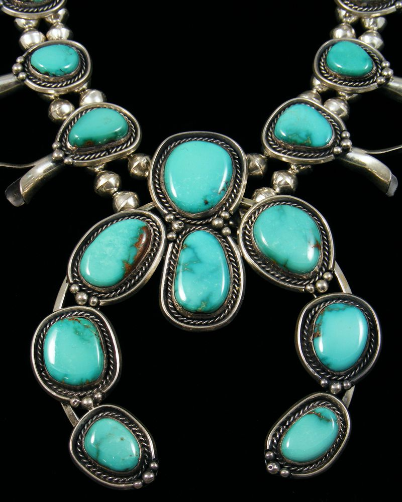 Fox Turquoise Squash Blossom Necklace