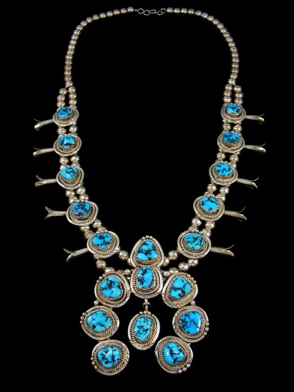 Old Pawn Kingman Turquoise Squash Blossom Necklace