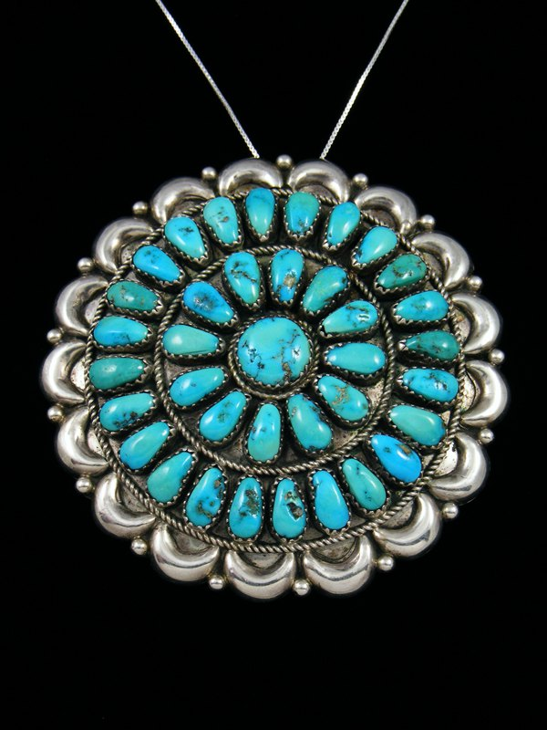 Estate Indian Jewelry Sterling Silver Turquoise Cluster Pin/Pendant